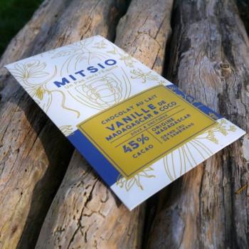 Chocolat au lait - Vanille de Madagascar et coco - 45% cacao 75g