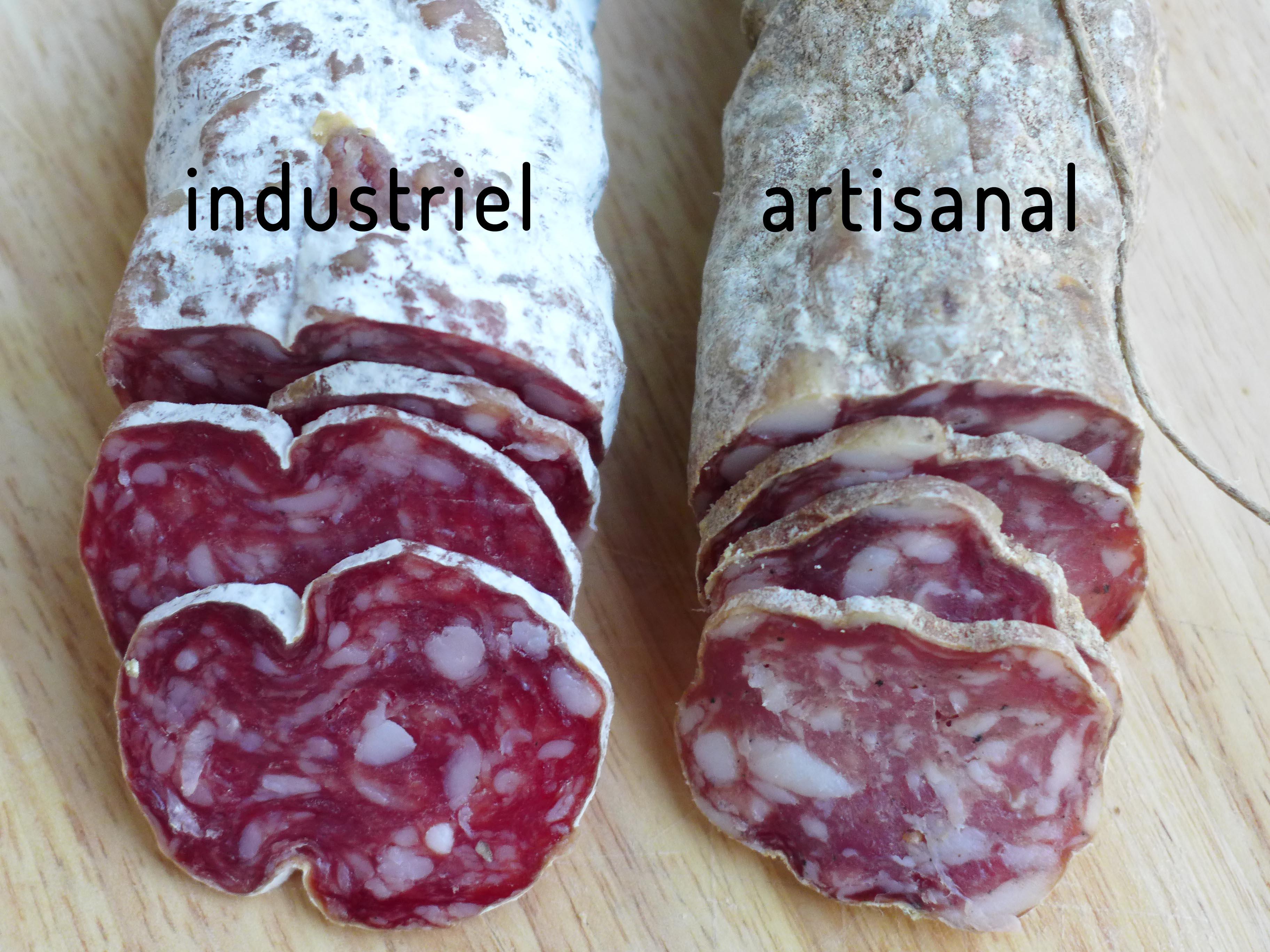 Saucisson entier artisanal et industriel